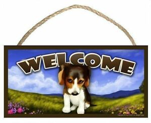 The Guilty Beagle Spring Season Welcome Dog Sign featuring art of S Rogers