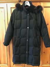 woman coat winter black M Gallery good condition fox fur around the hood