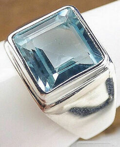 Blue Topaz Gemstone Solid 925 Sterling Silver Signet Mens Ring Jewelry
