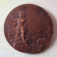 flandre - rare médaille en bronze manutention du port de dunkerque - jean bart