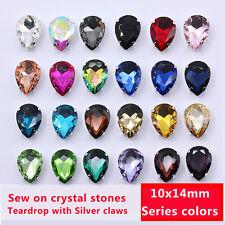 30p 10x14mm Teardrop Costume Dress Color Crystal Glass sew Sewing On Rhinestone