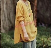 Womens Loose Cotton Linen Tops Long Sleeve Dress Flax Tunic  Shirts Casual New