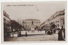 Lisboa Praca Luiz de Camoes Portugal Vintage RP Postcard 261a