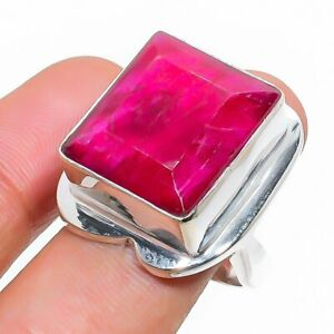 Kashmir Red Ruby Gemstone Handmade 925 Sterling Silver Jewelry Ring Size 9 l025