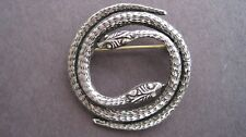 Two Headed Coiled Silver Snake Pin - Reptile Brooch - - * Silver Eyes *