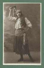 C1910'S RP PC GIRL DRESSED AS GYPSY WITH TAMBOURINE - LEEDS PHOTOGRAPHER