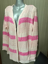BNWT Ladies Sz XXL 18 Rivers Pink Stripe Open Front Long Sleeve Drape Cardigan