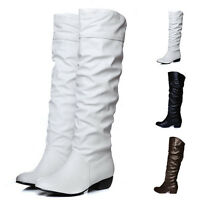 Wome Knee High Long Boots Low Heel Fashion Boots Stretch Shoes Hot Sale New