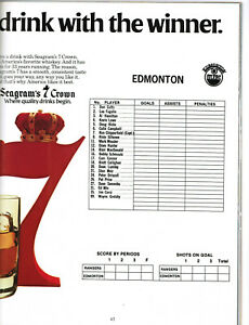 1979 New York Rangers v. Edmonton Oilers Program - Gretzky + Messier Lineup Card