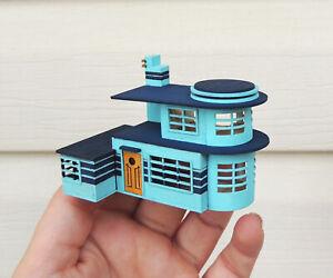 1:144 Scale Art Deco Dollhouse KIT- Miniature DIY- Streamline Futuristic