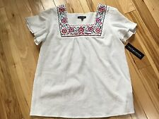 NWT NOTATIONS White Guaze EMBROIDERED Pullover Sz Medium Women MRSP $44