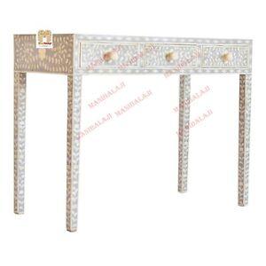 Handmade Bone Inlay Console With 3-Drawer Beautiful Floral Design Home Decor U