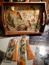 Resin Shabby chic Wooden Tray with Real Pressed  flowers and Matching Bookmarks!