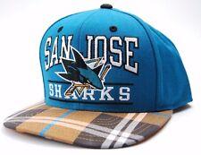 San Jose Sharks Reebok NH51Z NHL Plaid Bill Flat Bill Snap back Hockey Cap Hat