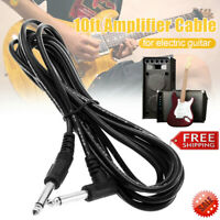 Black 10ft 3m Electric Patch Guitar Amplifier AMP Instrument Cable Cord 6.35mm