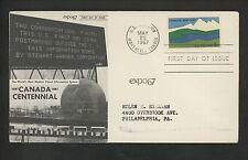 US FDC #1324 Stewart Warner M-38 5/25/1967 Montreal PQ Canada Centennial