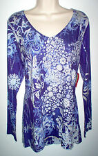 WOMENS TOP XL MULTI COLOR LONG SLEEVE EMBELLISHED STRETCH NEW w/TAGS