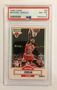1990 FLEER BASKETBALL TRADING CARD - MICHAEL JORDAN #26 - NEAR MINT / MINT PSA 8