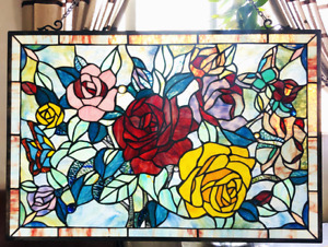"""27"""" x 19"""" Victorian Rose Garden Tiffany Style Stained Glass Window Panel w Chain"""