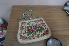 "Vintage  Petite point Petit-Point Tapestry Purse Handmade 5"" x 6"""