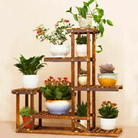 Anti-Corrosion Solid Wood 5Tier Plant Stand Flower Pot Shelf Balcony Holder Rack
