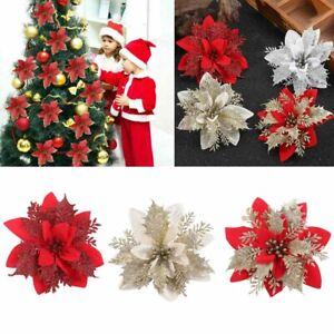 10X Christmas Large Poinsettia Glitter Flower Tree Hanging Party Xmas DIY Decor