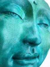 ZEN ART Buddha Hanging Sculpture, Jade and Turquoise Meditative Healing Original