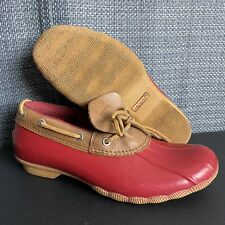 SPERRY TOP SIDER Womens Size 7 Waterproof Leather Rubber Duck Boots Low Red