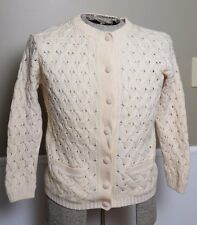 Vintage Women's Wool Cardigan Sweater Cream Cable Knit Made in Hong Kong Lined