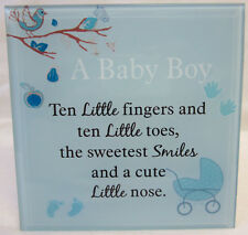 15cm Plaque Blue A Baby Boy, Ten Little Fingers and Ten Little Toes Great Gift
