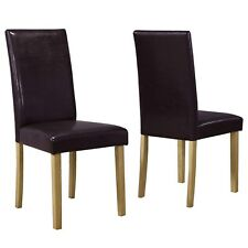 Pair Brown Faux Leather Dining Chairs High Back Solid Oak Legs