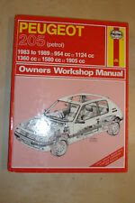 PEUGEOT 205 HAYNES WORKSHOP MANUAL PETROL Inc GTi CABRIOLET & VAN's 1983-1989