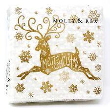 Molly & Rex 40 Beverage Napkins Christmas Golden Leaping Deer 13296 Punch Studio