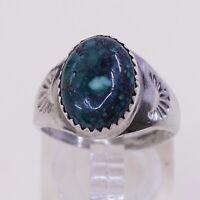 Sz 7.75 Vtg Native American Navajo Handmade Sterling 925 Silver W Turquoise Ring