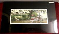 """Color Art Print Riverboat Natchez New Orleans Plantation River Live oak 5"""" x 13"""""""