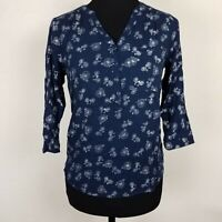 Sonoma Womens Size XS Top Bicycle Novelty Print Popover Blouse Navy Casual Shirt
