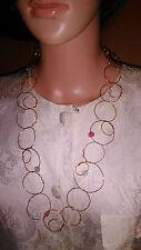Elizabeth Gillett ciudad de Nueva York enlace circular de metal oro Collar de joyería.