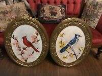 Antique Oval Gesso Frames 25x19 Bird Paintings Cardinal Blue Jay