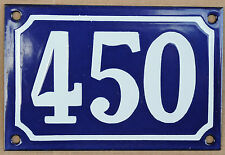 Blue French house number 450 door gate plate plaque enamel steel metal sign
