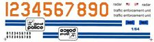 DETROIT Police 1/64th HO Scale Slot Car Waterslide Decals