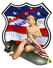 Sexy American Maid Flag Pinup Girl Waterslide Decal Sticker S316