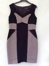LADIES LINED SLEEVELESS DRESS SIZE 14 FROM AUTOGRAPH BLACK WITH STRIPES & DETAIL