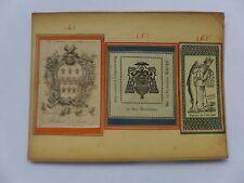 Ex-libris ancien ,Monogrammes,Armoiries collés sur carton dont ROBERT DOLSON....