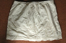 NEW! Sz 16 Cream Embriodery Englaise Lace Panel Mini Summer Cotton Skirt
