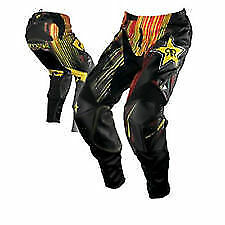 "28"" Kids Youth Rockstar Pants MX Motorbike BMX Black Red Yellow $249.95"