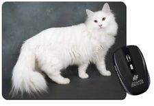 White Norwegian Forest Cat Computer Mouse Mat Christmas Gift Idea, AC-105M