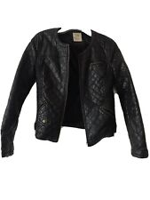 Zara Trafaluc Faux Leather Black Jacket Size Medium Quilted