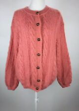 United Colors of Benetton Italy 80s Coral Pink Mohair Cardigan Sweater Sz M