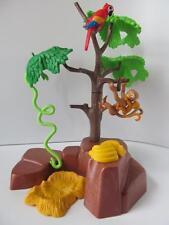 Playmobil Animales Del Zoológico/SAFARI: los monos & loro con Rock & Tree Paisaje Nuevo