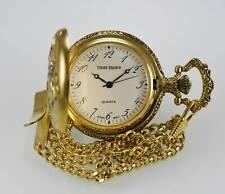 Times Square Reloj de Hombre Bolsillo Oro Acero Inoxidable Resistente Al Agua
